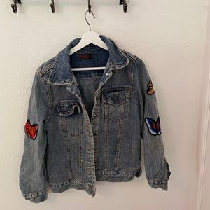 Jean jacket with butterflies insects embroidered